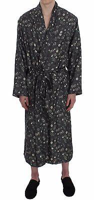 NWT DOLCE & GABBANA SILK Robe Nightgown Green Dice Card Print S. IT4 / S