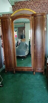 Antique French Armoire with Center Beveled Mirror Door-2 side doors, 2 Drawers Beveled Mirrored Doors