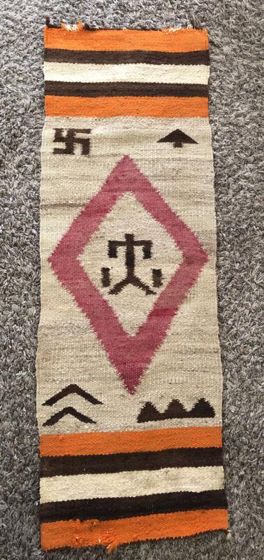 "Navajo Native American vintage whirling Symbol Pony Blanket 13""x 38"""