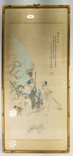 Antique Chinese Republic Period Watercolor Scroll Painting on Silk Figures