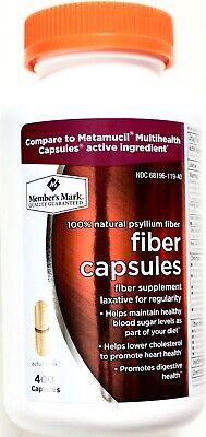 Natural Psyllium (Member Mark Fiber Capsules 100% Natural Psyllium Husk, 400 Capsules Each Bottle )