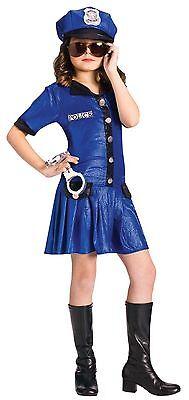 Girls Police Officer Costume Halloween Fancy Dress Cop-Woman Child Kids Blue M L