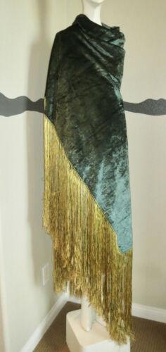 Art Deco Shawl Silk Velvet Long Fringe 1920s