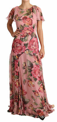 DOLCE & GABBANA Dress Pink Floral Roses Silk Chiffon Gown IT44 /US10/L RRP $5600