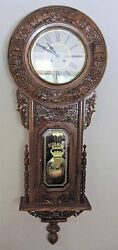 Vintage Regulator A Ornate Oak Wall Clock Chime Pendulum Key & Instructions