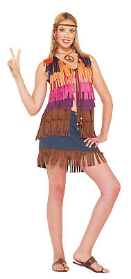 60's Style Halloween Costumes (Hippie Fringed Vest Adult Women's Costume 60's Style Multicolored Fancy)