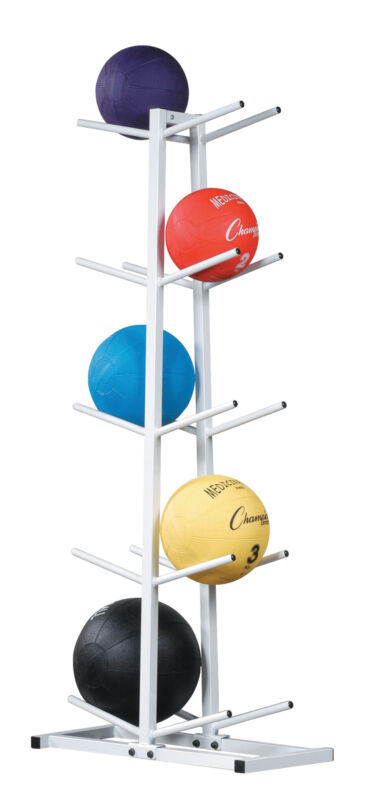 Champion Double Stack Medicine Ball Rack with 10-Ball Capacity, White