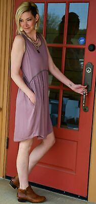 Kori America Lace Trim Babydoll Dress in Mulberry- NWT](America Dress)
