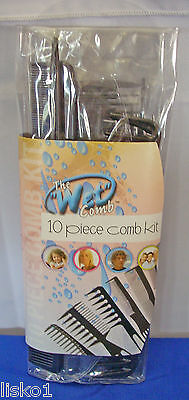 - THE WET COMB 10-piece hair styling comb set (black)