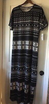NWT LuLaRoe 2XL Maria Dress Black & White Geometric Aztec Southwest
