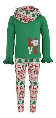 Childrens Santa Outfits (UB Girls Christmas Santa Love Embroidery Outfit Green Holiday 2t 3t 4t 5 6 7)