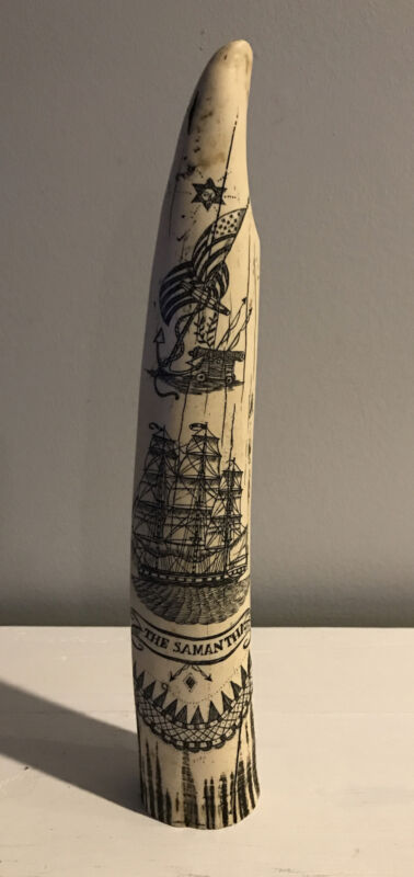Scrimshaw Replica Walrus Tusk Faux Bone THE SAMANTHA Maritime Americana