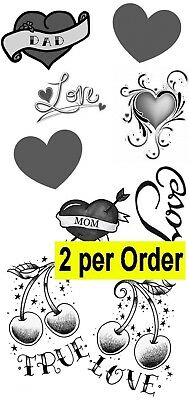 Mom Heart Tattoos (2 Love Heart Temporary Fake Tattoos Waterpoof Mom Dad affection Body)