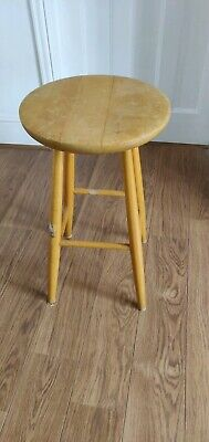 Old Tall Wooden Stool for Restoration. Approx 25inch high x 14inch seat diameter