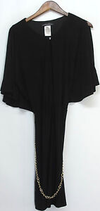 aDRESSing WOMAN Sz L Keyhole Blouson Dress w/ Chain Belt Black NEW NWOT