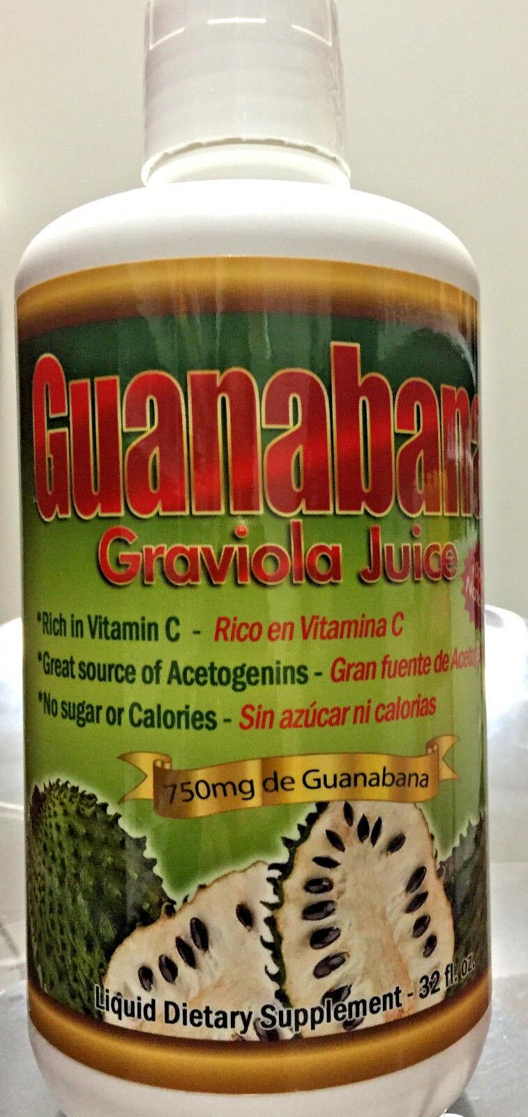 Jugo De Guanabana Graviola Juice 100% Natural 32fl.oz Sin...