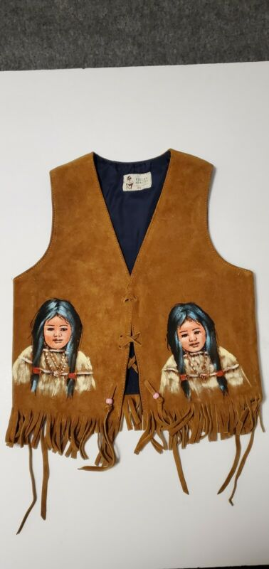 1960s Leather Hand painted Childrens Vest Mexico Pieles Apache Native American