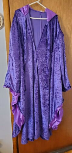 ARTEMISIA DESIGNS PURPLE CRUSHED VELVET HOODED CAPE PURPLE SATIN LINING
