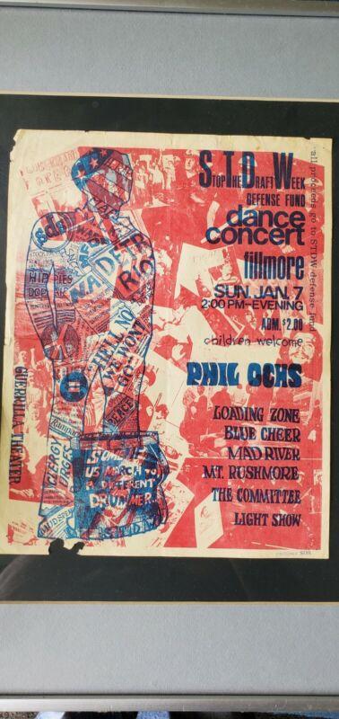 Phil Ochs Vintage 60s ANTI VIETNAM WAR PEACE CONCERT  PROTEST HANDBILL  SDS