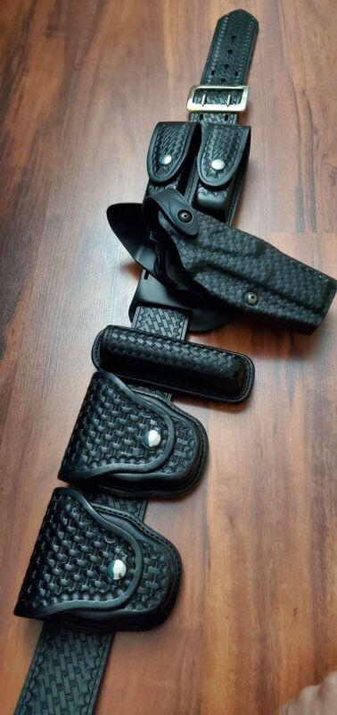 Galls Police Duty Belt Black Leather Basketweave Size 36