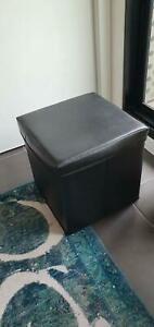 Folding Storage Box Ottoman-Faux Leather Black - 3 Available