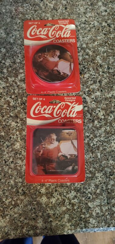 Lot of 2 Sets 1992 Coca Cola Santa Coasters In Package 4""