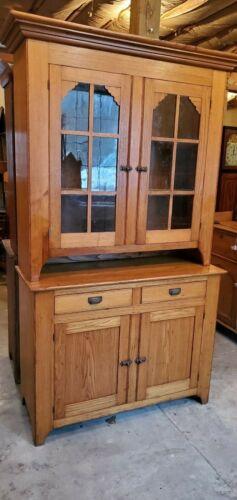 Antique CHESTNUT 2pc Stepback Cupboard c. 1865 Rare To Find