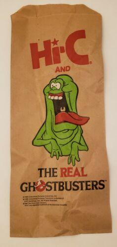 """Vintage Original Hi-C Promo The Real Ghostbusters """"Slimer"""" Logo Paper Bag"""