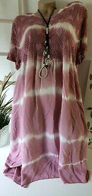 Damenkleid Sommerkleid Strandkleid Netzarm Batik Beere Candy Free 48 50 52 Italy