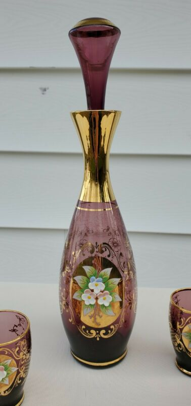 VINTAGE BOHEMIAN CZECH HAND PAINTED FLORAL RELIEF DECANTER SET OF 6 PCS.