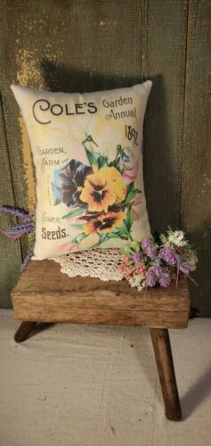 PRIMITIVE VINTAGE VICTORIAN GARDEN FLOWER 1897 SEED CATALOG ADVERTISING PILLOW