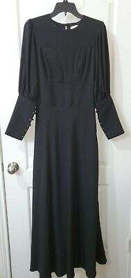 Vintage Black Long Maxi Dress Button Down Sleeves Gothic Victorian