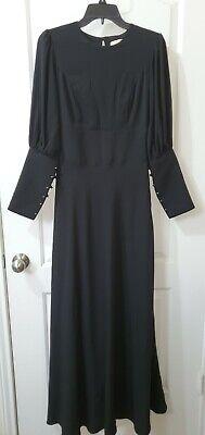Long Black Dress Button Down Sleeves US 2/UK 8 Vintage Modest