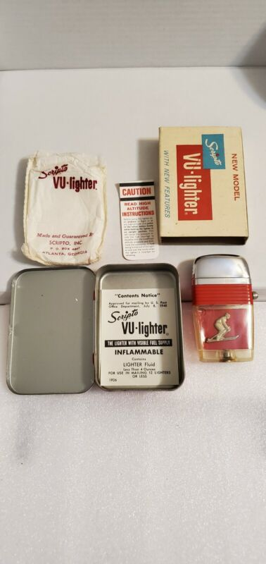 Vintage Scripto Vu Lighter: 3D Skier in Case w/ Papers Red Band