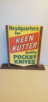 RARE! Keen Kutter Pocket Knives Hand Tools Double Sided Advertising Paper Sign