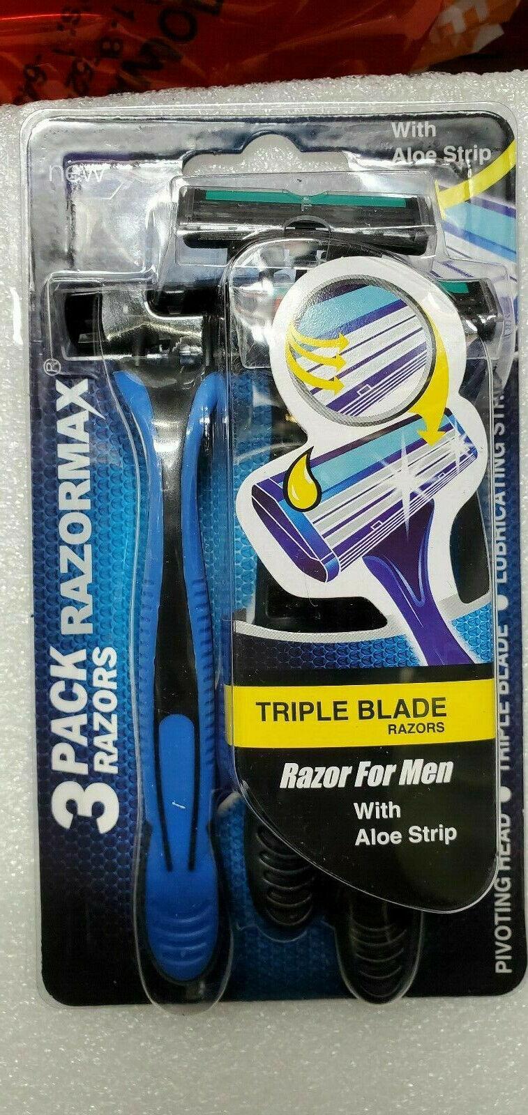 triple blade disposable razors with aloe strip