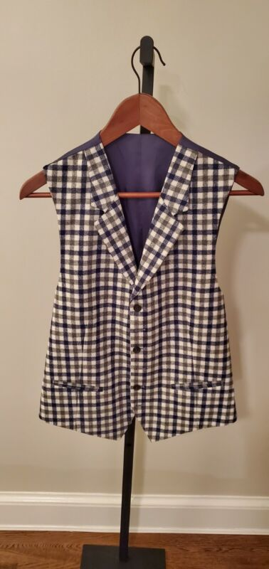 Suit Supply Wool Checked Plaid Waist Coat - 38R, Mint Condition