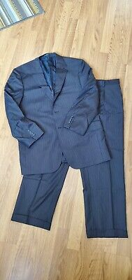 Mattarazi Uomo Mens Wool Suit Navy Blue Gold Pinstripe 42R 36x29 Pants Mens Navy Pinstripe Wool Suit