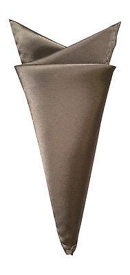 (Mens Stylish Satin Solid Colour Square Pocket Handkerchief Hanky Taupe)