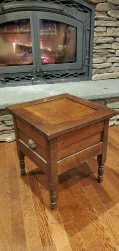Antique Mission Quarter Cut Oak Commode Chamber Potty Toilet Chair Child Seat