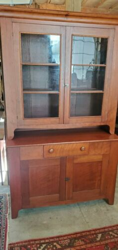 Antique Shaker Cherry 2-pc Stepback Cupboard c. 1830-40