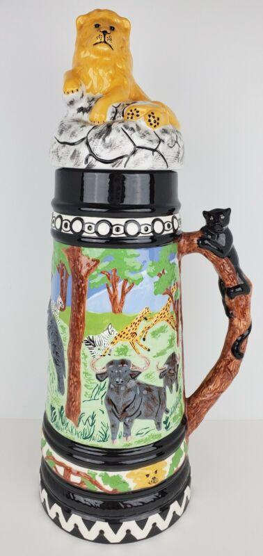 "Vintage Holland Mold Hand Painted Ceramic African Animal Safari Beer Stein 18"""