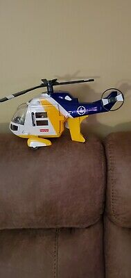 2007 Fisher Price Imaginext Rescue Helicopter Vehicle Yellow Blue White