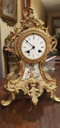 Antique Fire Gilt Bronze 1855 Japy Freres et Cie Flame Form French Mantle Clock