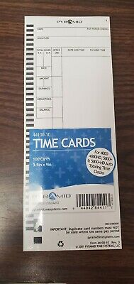 Pyramid Time Cards Qty 100
