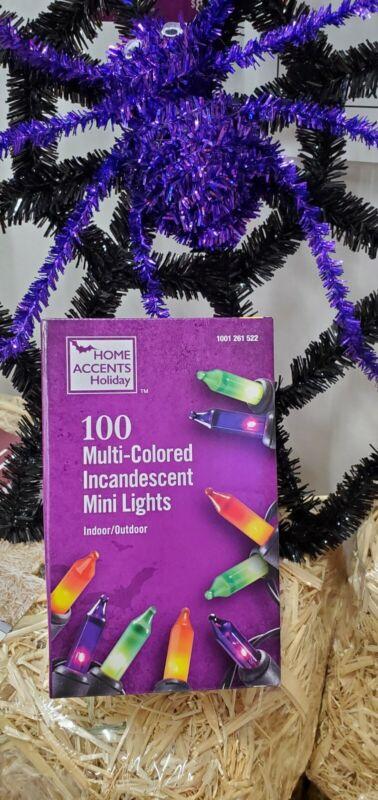 100 multi-colored incandescent Halloween mini Lights, Black Cord