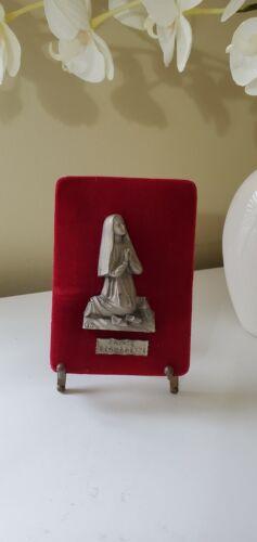 Mini Icon Saint Bernadette Pewter on Red Velvet + Antique Metal Easel Chavalette