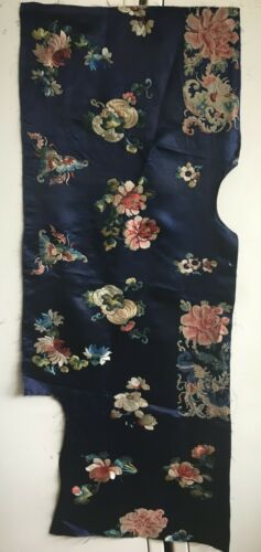Beautiful Late 19th C. Chinese Silk/Satin Hand Embroidery Fabric  (2804)