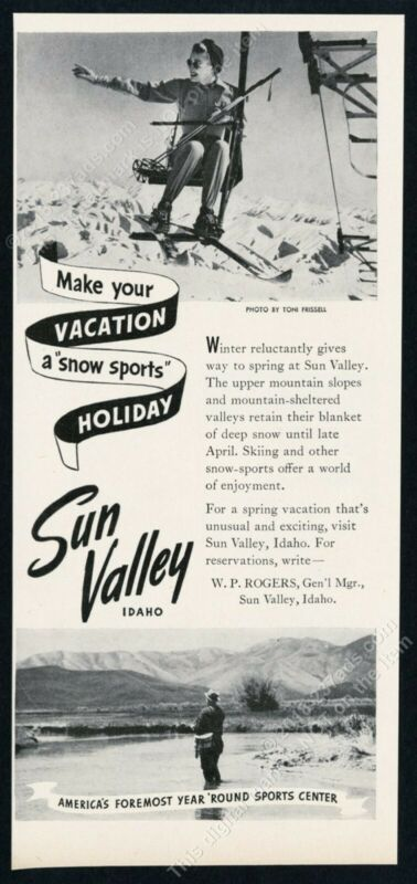 1947 Sun Valley ski area skier ski lift Toni Frissell photo vintage print ad