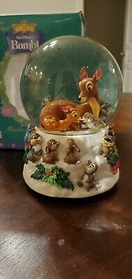 "Disney Bambi Enesco Musical Snow Globe Christmas Plays ""Cantique De Noel"""